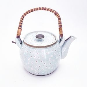FLORAL TEAPOT With Wicker Handle